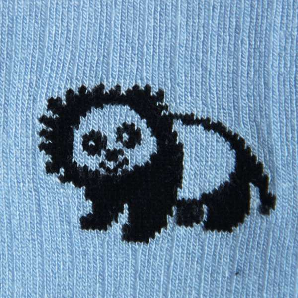 Fundaze branded light blue bamboo socks with special hand-drawn panda and lion hybrid pattern at hippist.co.uk