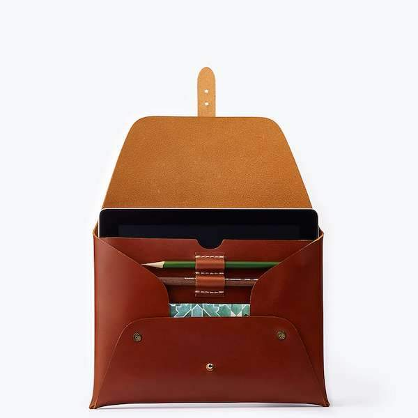 leather cognac colours ipad clutch
