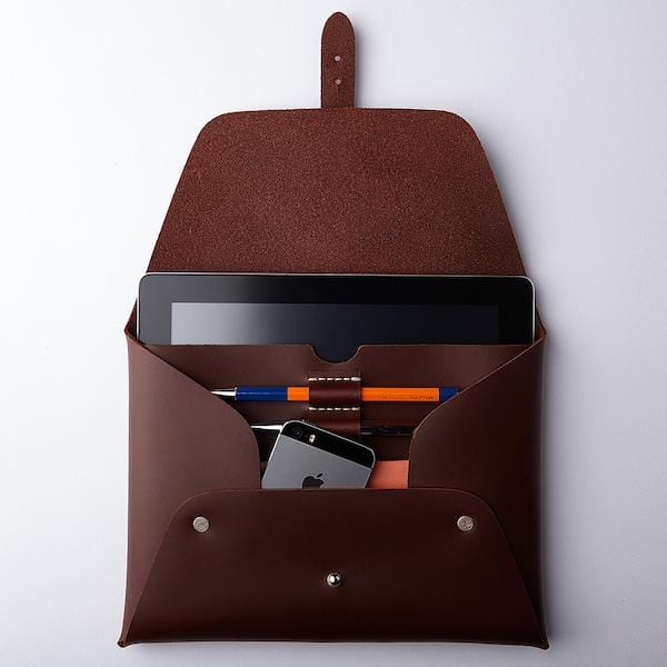 red brown ipad clutch