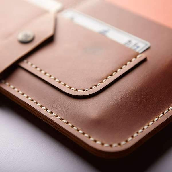 leather ipad organiser's sewing details