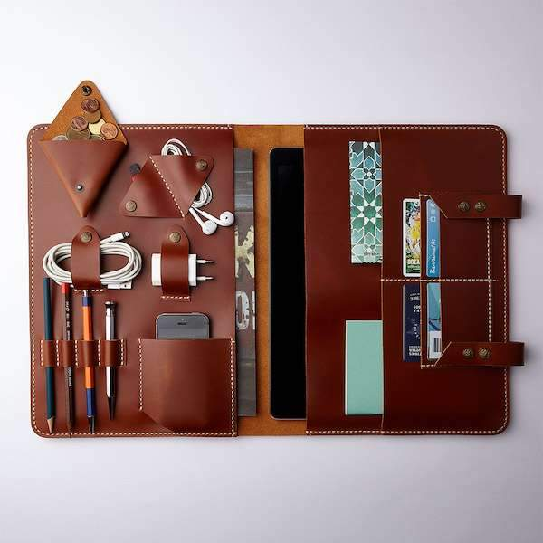 leather cognac colours ipad organiser