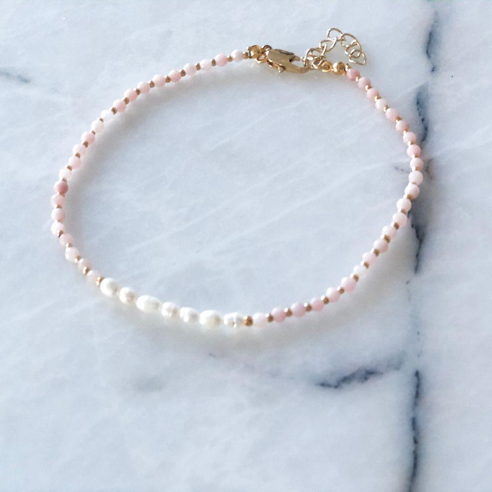 Issi Natural Pearl & Pink Opal Anklet