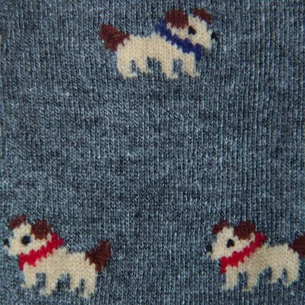 Fundaze branded anthracite grey bamboo socks with Jack Russel pattern at hippist.co.uk