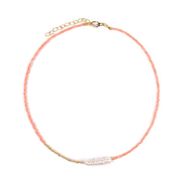 Jane Natural Pearl Coral Necklace
