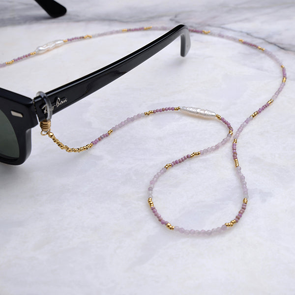 Lina Natural Pearl & Amethyst Eyeglass Chain