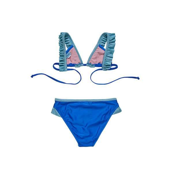 Sax blue bikini set with green frill and strap details