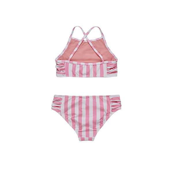 Pink and white striped bikini set