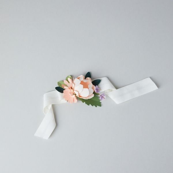 Macaron Bridesmaid Wristband Paper Flower Brooch