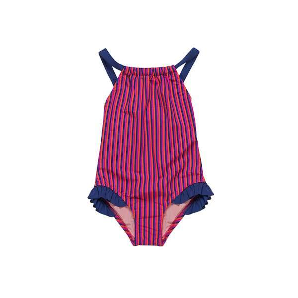 Stripe swimsuit with navy frill and strap details