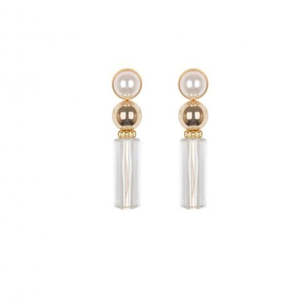 brass plating with pearl gold earrings