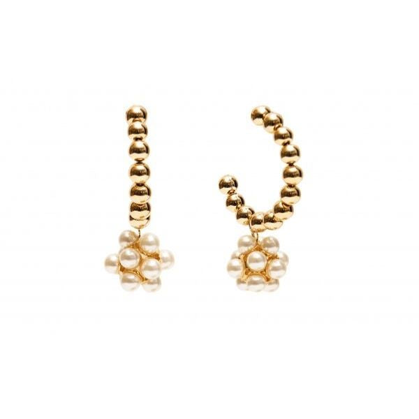 brass plating gold earrings with pearl