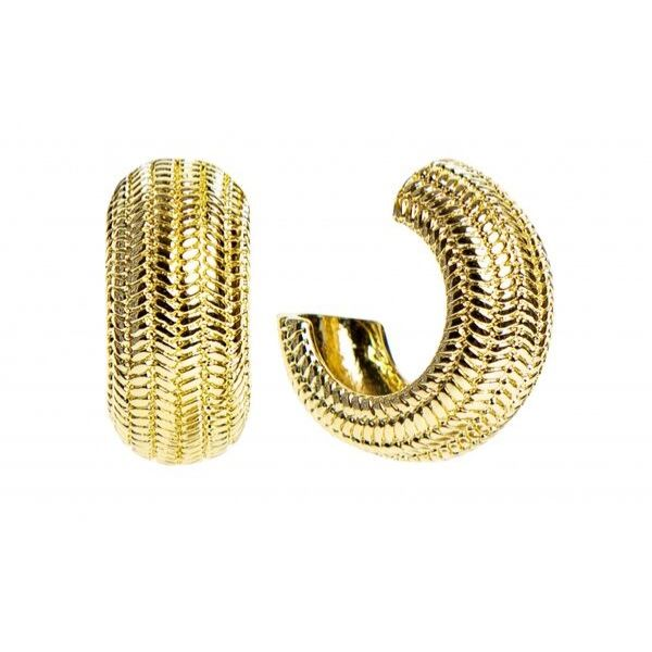 zigzag pattern gold earrings