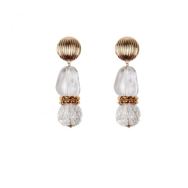 Brass plating handmade earrings with crystal and plexi detailed.
