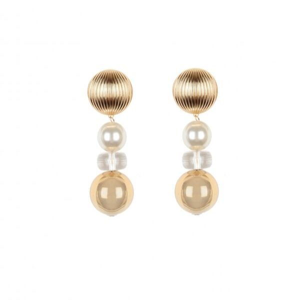 handmade gold earrings with pearl