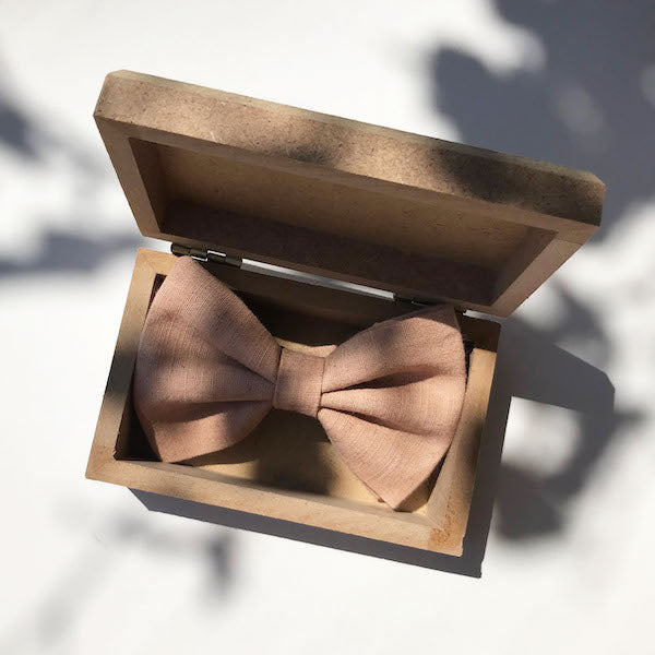 Darwin's botanicals branded hand dyed linen coral colour bow tie at hippist
