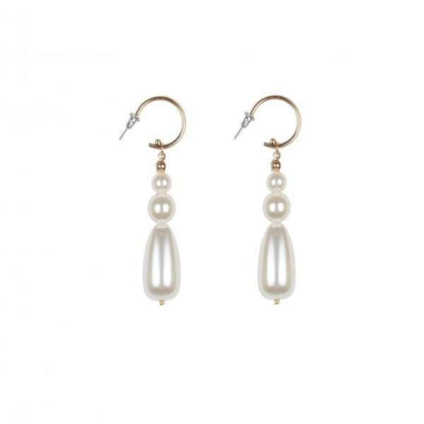 brass plating earrings with pearls