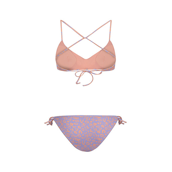 Salmon and lilac leopard patterned bikini