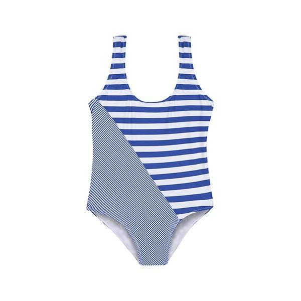 peralina blue striped girls swimsuit for 2 - 11 years