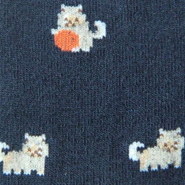 Fundaze branded navy bamboo socks with Pomeranian pattern at hippist.co.uk