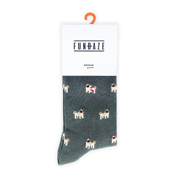 Fundaze branded vetiver bamboo socks with Pug pattern at hippist.co.uk