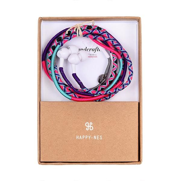 colourful handmade happynes branded earphones in a box