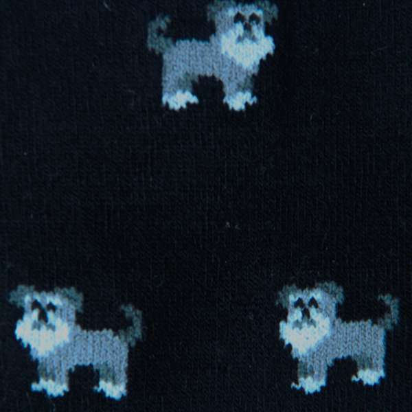 Fundaze branded black bamboo socks with Schnauzer pattern at hippist.co.uk