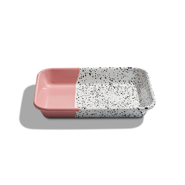 26 x 18 x 4 cm, Pink Enamel Serving Tray