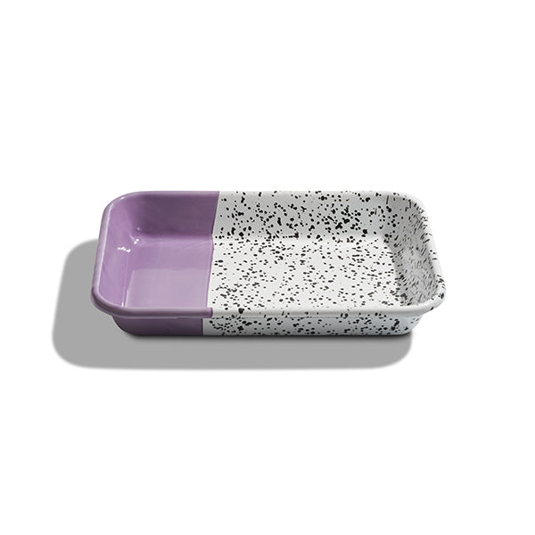 26 x 18 x 4 cm, Purple Enamel Serving Tray