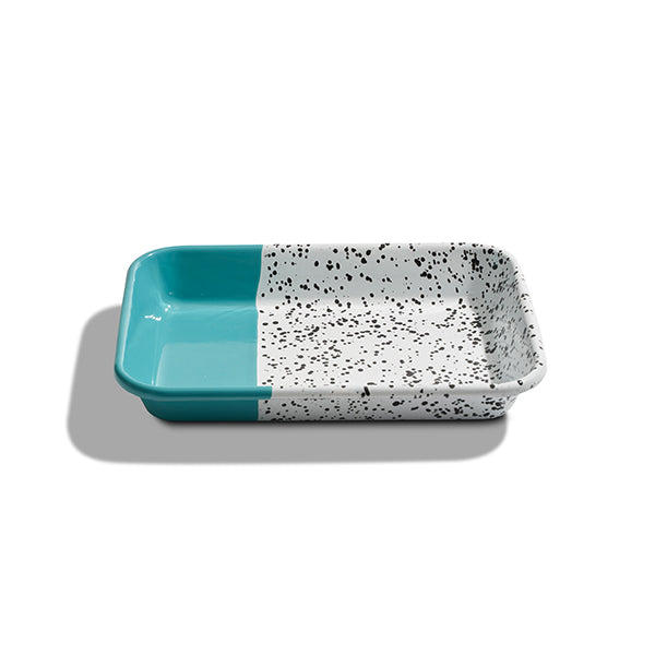 26 x 18 x 4 cm, Turquoise Green Enamel Serving Tray