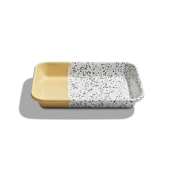 26 x 18 x 4 cm, Yellow Enamel Serving Tray