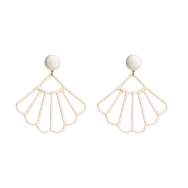 white colour silk thread and raffia hand-knitted seashell in form earrings