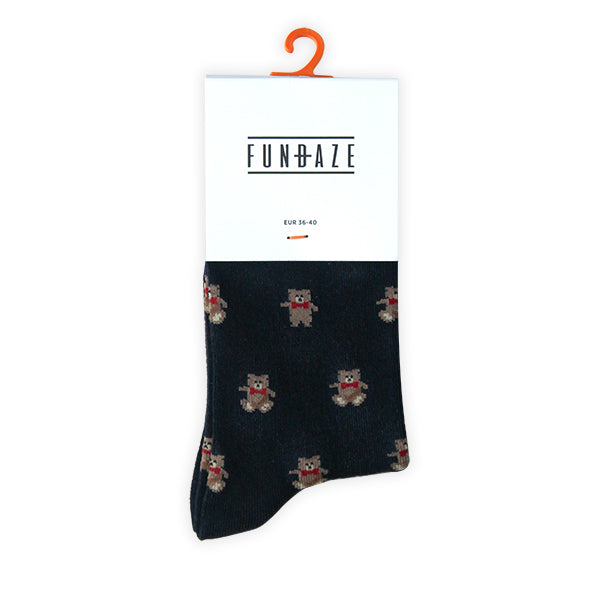 Fundaze branded navy bamboo socks with Teddy Bear pattern at hippist.co.uk