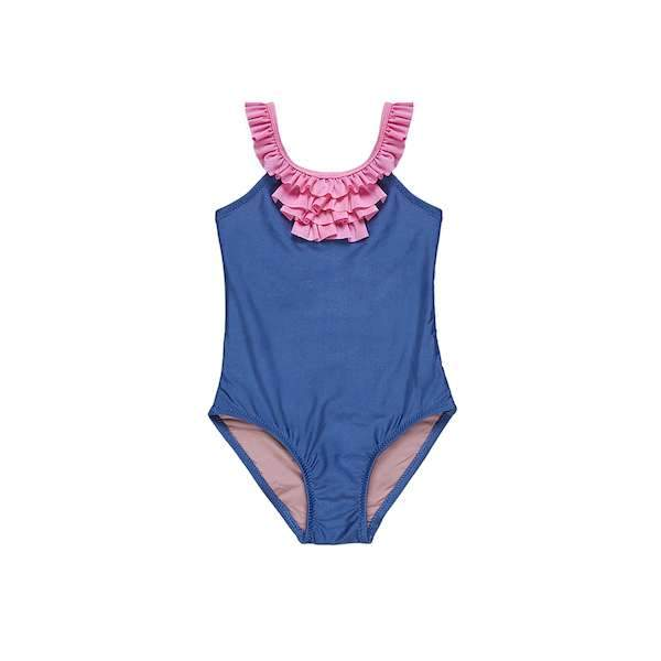 Navy swimsuit with pink frill details for 2-10 years