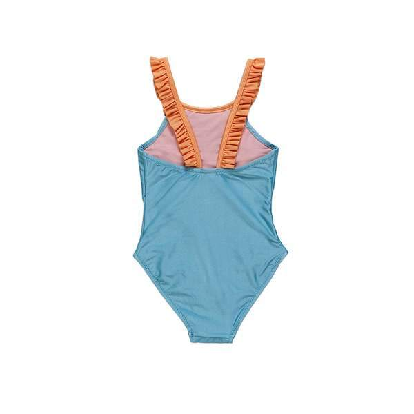 Green swimsuit with orange frill details for 2-10 years