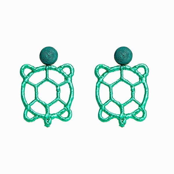 mint colour silk thread and raffia hand-knitted turtle in form earrings