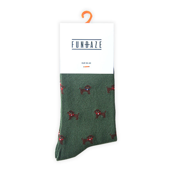 Fundaze branded green bamboo socks with Toy Poodle pattern at hippist.co.uk