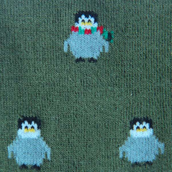 Fundaze branded green bamboo socks with Christmas Penguin pattern at hippist.co.uk