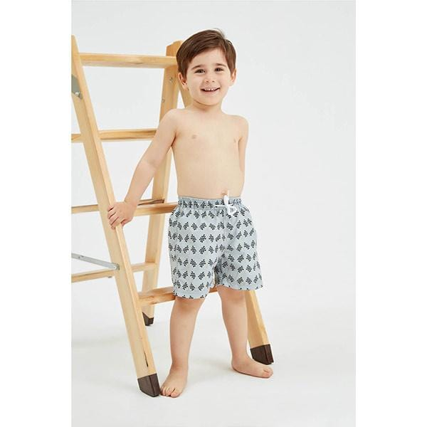 little boy on a ladder with flag print swim shorts
