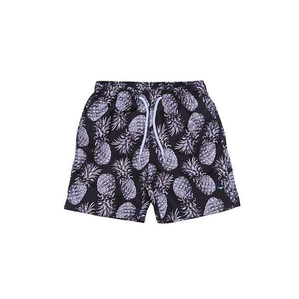 Black pineapple printed swim shorts for 2-10 years