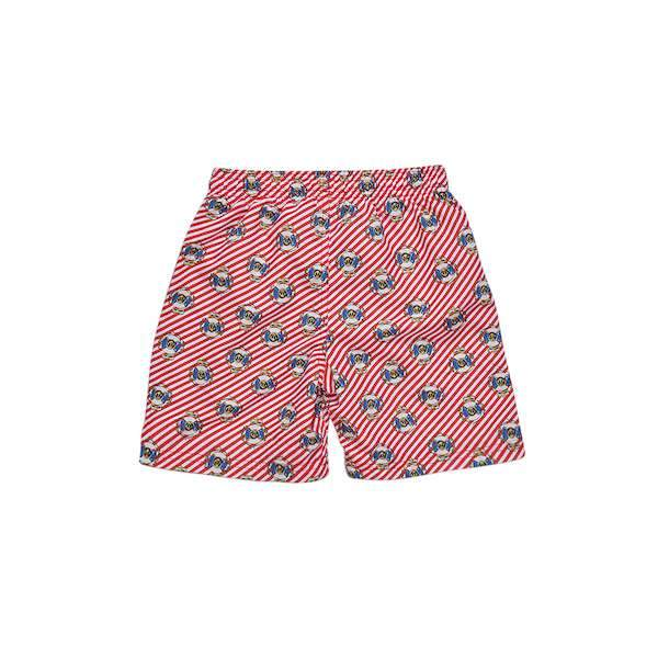 Red and white stripe swimming short with blueprints