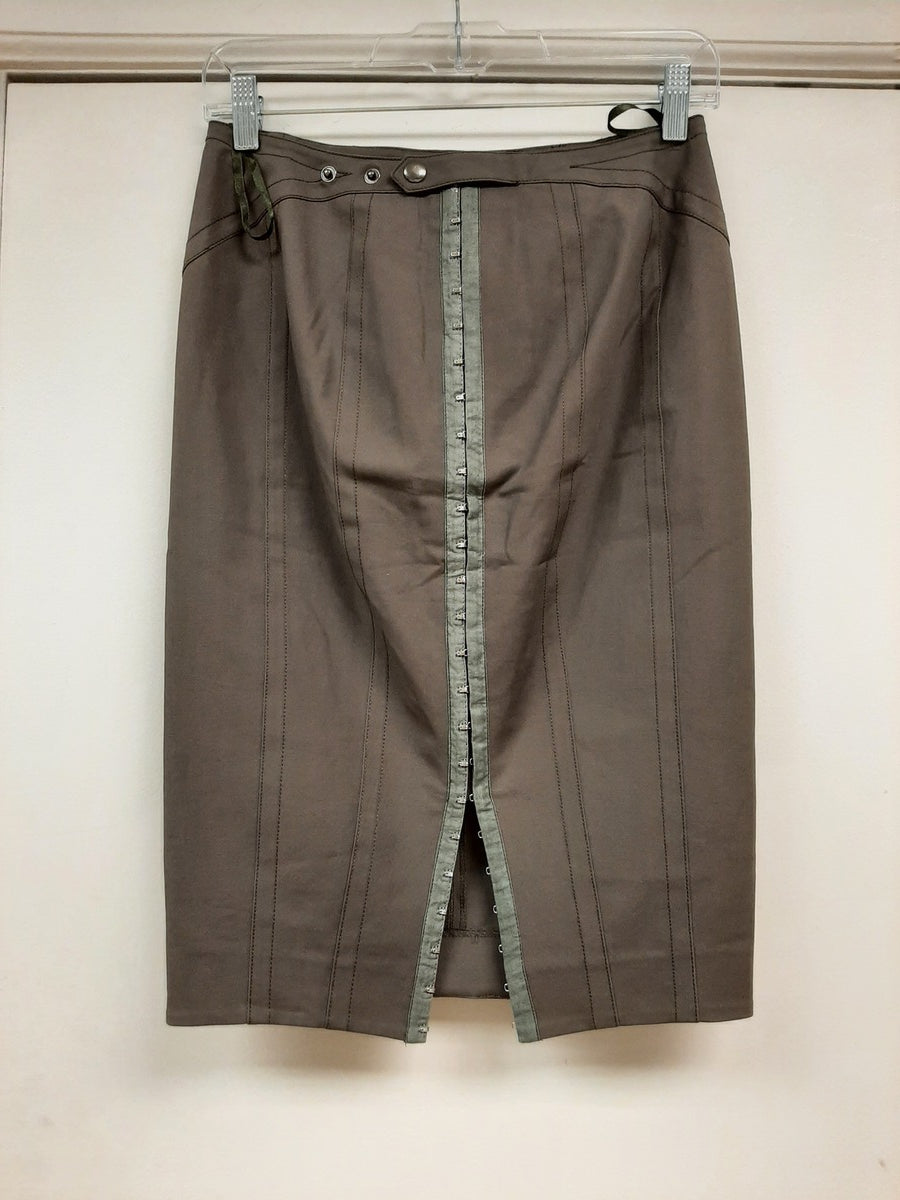 Dark Khaki Straight Skirt - Sample Sale