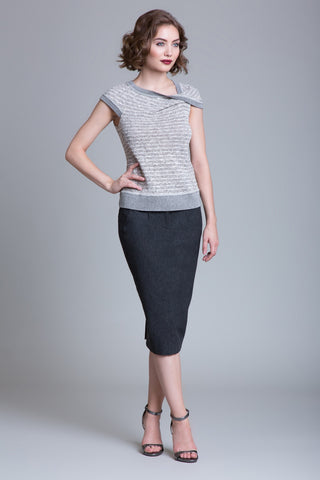 White Shimmer Twisted Cap Sleeve Pull Over - Sample Sale