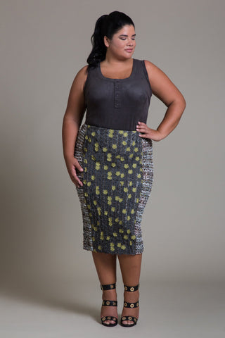 3D Laser Cut Floral Pencil Skirt - Byron Lars Beauty Mark