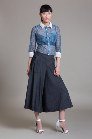 Denim Midi Culotte Pant- Sample Sale