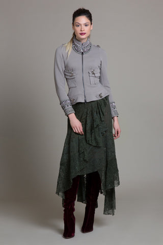 Cascading Olive Lace Skirt