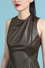 All in One Vegan Leather Asymmetrical Mini Tunic