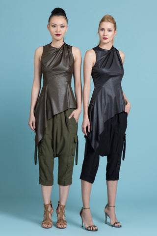 Draped Asymmetrical Leather Look Shell