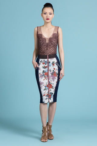 Floral Brocade Pencil Skirt (Pre-Order Only)