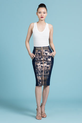 Copper Brocade Pencil Skirt (Pre-Order Only)