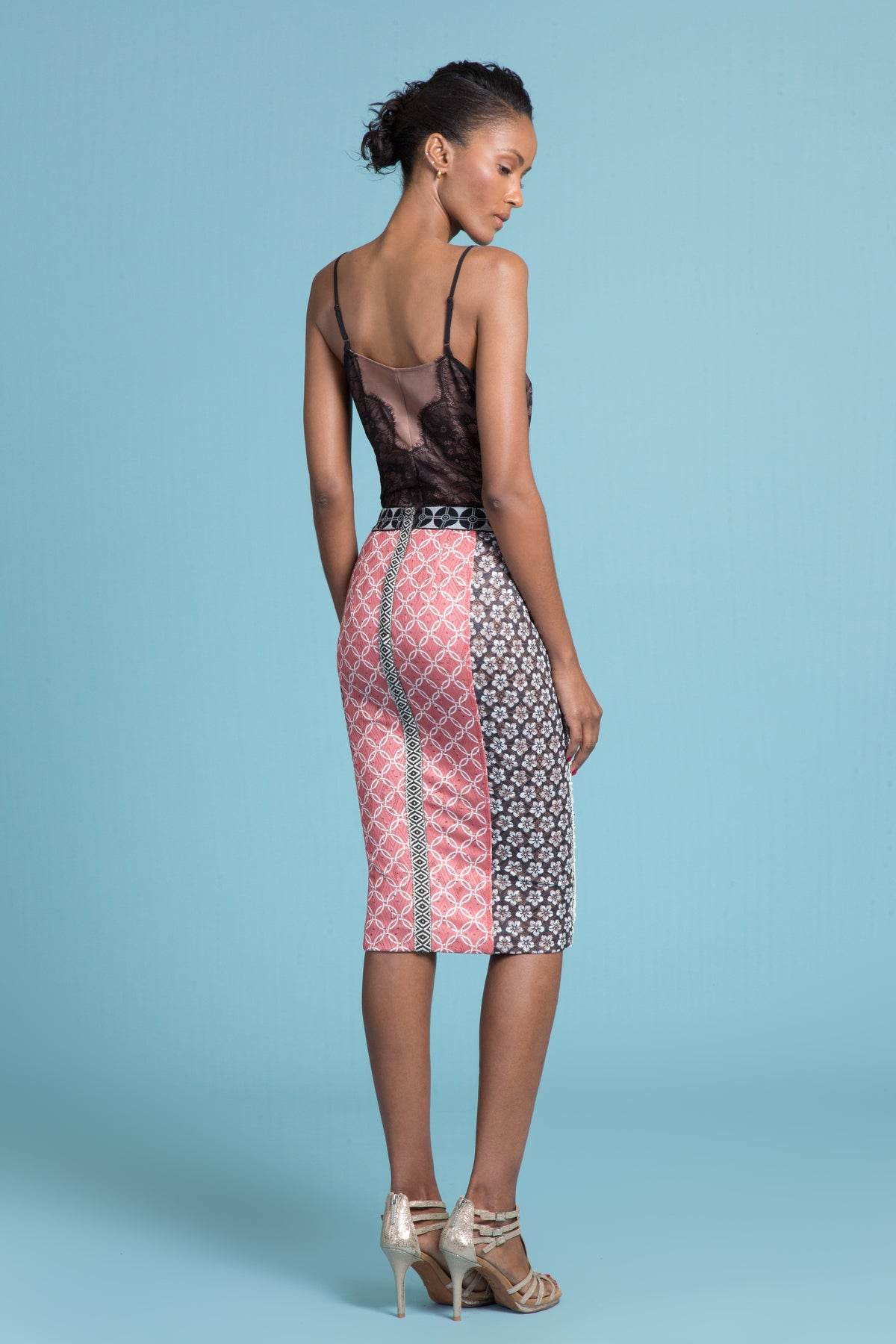 Chinoiserie Sequin Pencil Skirt